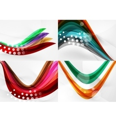Set of abstract backgrounds curve wave lines with vector