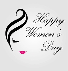 Happy womens day card with face of a lady vector image