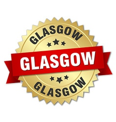 Glasgow round golden badge with red ribbon vector