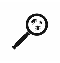 Magnifier and insects icon simple style vector