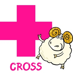 cross shape with cartoon ram vector image