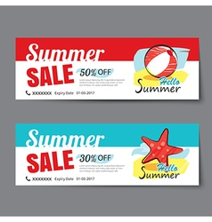 Summer sale voucher templatediscount coupon banner vector