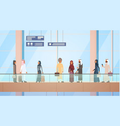 arab traveler people airport hall departure vector image