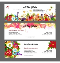 Banners template floral design vector image