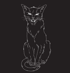 Black cat isolated pagan witchcraft theme vector