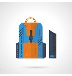 Blue knapsack flat icon vector image