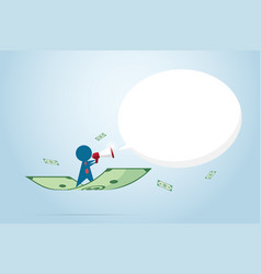 businessman holding a megaphone with banknote vector image