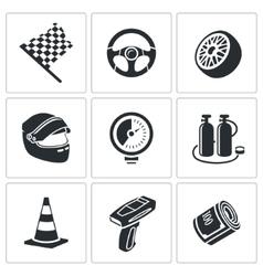 Car racing and pumping icons set vector