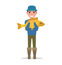 Cartoon fisherman holding a fish vector