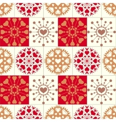 Christmas seamless pattern of heart snowflakes vector