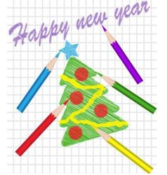 Christmas tree drawn with colored pencils vector image