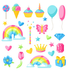 Collection of fantasy and birthday party items vector