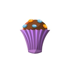 Cute cupcake in purple paper cup vector