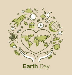 Earth day line art style logo icon vector