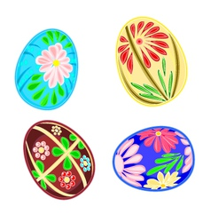 Easter eggs set floral pattern vector