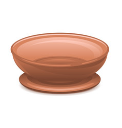 Empty clay plate with stand vector