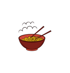 Flat noodles in bowl with chopsticks icon vector