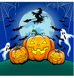 halloween theme pop art vector image vector image