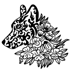 High quality original female wolf tattoo with vector image vector image