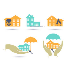 Insurance colorful icons set vector