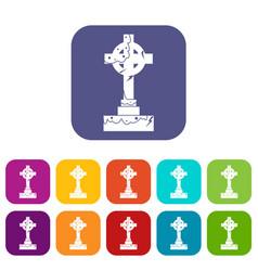 Irish celtic cross icons set flat vector