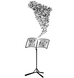 Lectern with flying musical notes vector image vector image