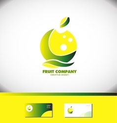 Lemon apple fruit company green yellow logo vector