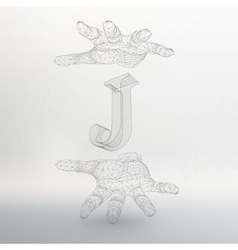 letter J and hand of lines vector image