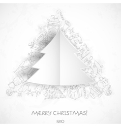 Merry Christmas Stylish Tree vector image vector image