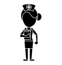 Nurse work hospital clipboard pictogram vector