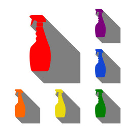 plastic bottle for cleaning set of red orange vector image
