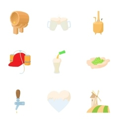 Preparation of beer icons set cartoon style vector