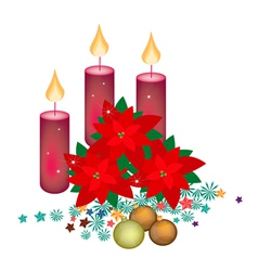 Red poinsettia flowers with christmas candles vector