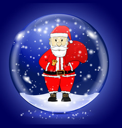 Santa claus in a snow magic ball christmas symbol vector