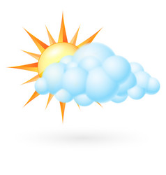 sun with cloud on white background vector image vector image