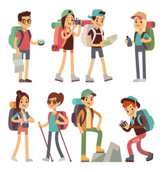 Tourists people characters for hiking and trekking vector