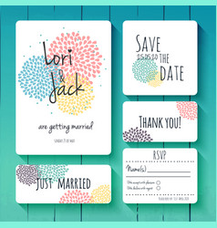 wedding invitation card set thank you save the vector image vector image