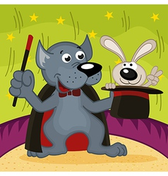 wolf magician with rabbit vector image