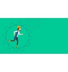 Woman running inside the gear vector image