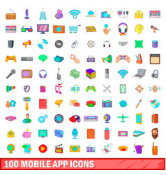 100 mobile app icons set cartoon style vector