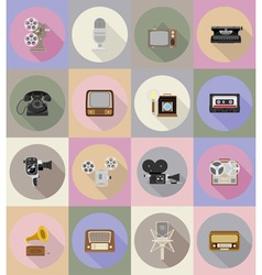 Multimedia flat icons 19 vector