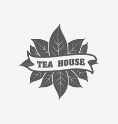 tea house logo badge or label design concept with vector image
