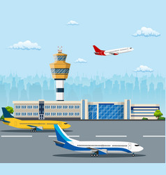 Airport building and airplanes vector