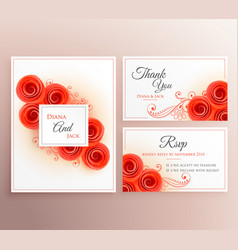 Beautiful wedding invitation card with rose vector