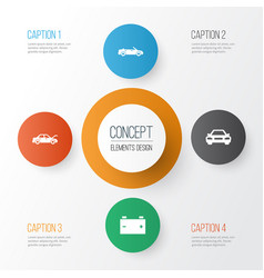 Car icons set collection of auto convertible vector