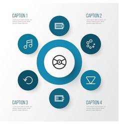 Multimedia outline icons set collection of charge vector
