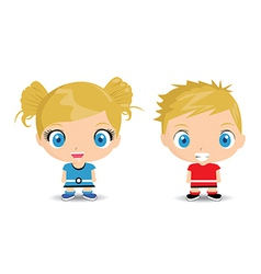 Two young children vector