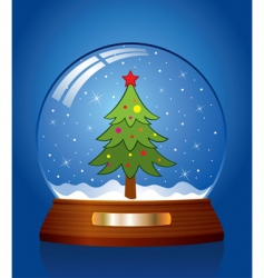 Snow globe with christmas tree vector