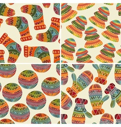4 seamless winter christams patterns vector