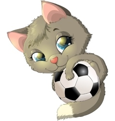 Kitten and ball vector